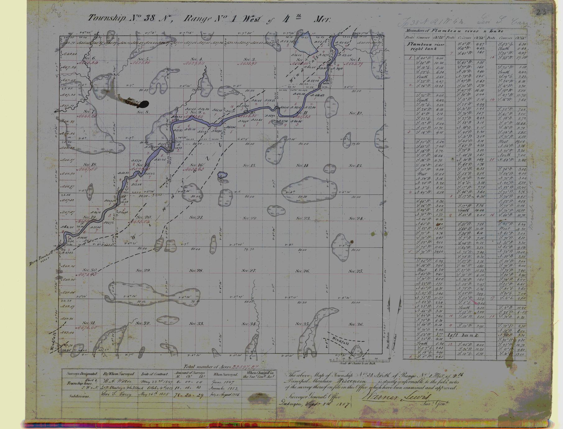 [Public Land Survey System map: Wisconsin Township 38 North, Range 01 West]