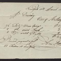 Bill and receipt, from A. Mathey to Felix Dominy, for watch repair supplies, 1829