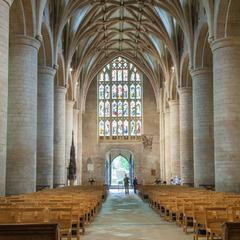 Tewkesbury Abbey nave looking west