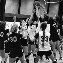 Women's Basketball team in action
