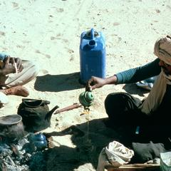 Tuareg Drivers Making Tea with Water from Jerry Can
