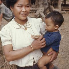 Lao woman and son