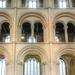 Peterborough Cathedral nave arcade, tribune and clerestory