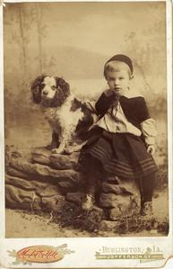 "Portrait of Aldo as child with his dog ""Talley,"" 1890s"
