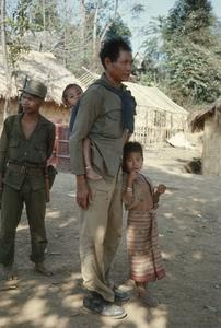 Ethnic Khmu' soldier and children