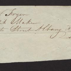 Address of Peter Fryer, watchmaker, State Street, Albany.