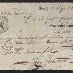 Bill from Samuel Maverick, engraver and copper-plate printer, 1823