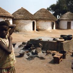 Two children In courtyard