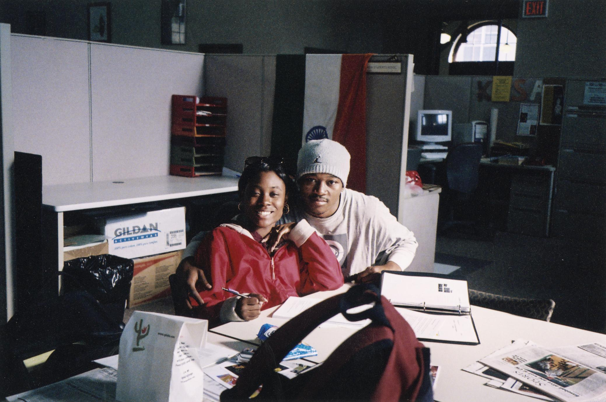 Two students studying in 2004