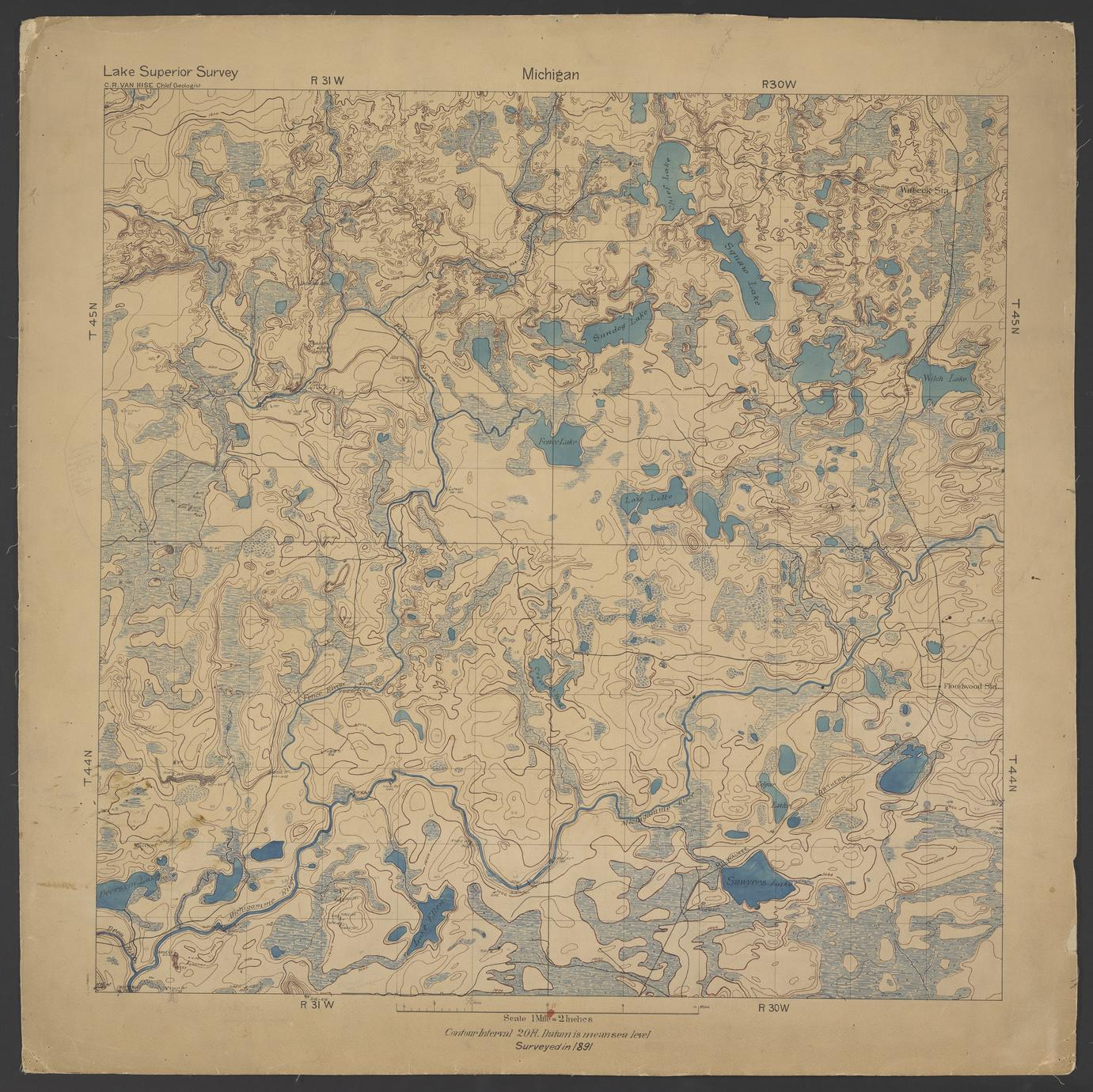 Geological map of area north of Channing, Dickinson, Iron, and Marquette Counties, Michigan