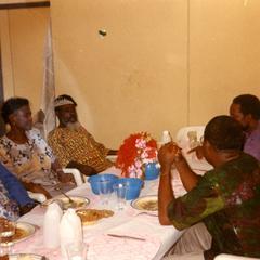 Group eating with the vice-chancellor of Obafemi Awolowo University.