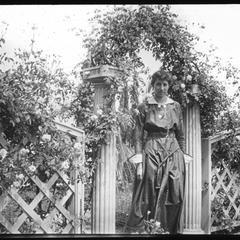 Margaret in gateway to garden