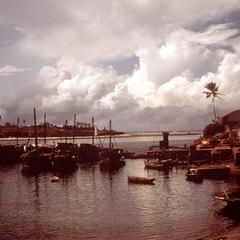 Dhows (Sailboats) Docks in Mombasa Harbor