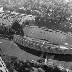 Aerial view of Camp Randall Stadium and Fieldhouse