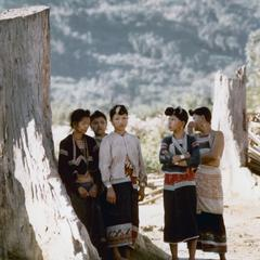 Five Yellow Lahu (Lahu Shi) women in Houa Khong Province