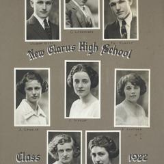 1922 New Glarus High School graduating class