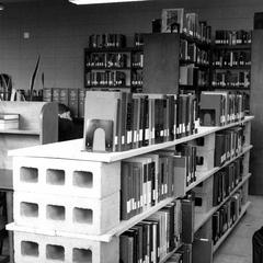 Makeshift library shelving, University of Wisconsin--Marshfield/Wood County