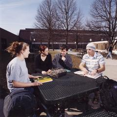 Students studying in courtyard