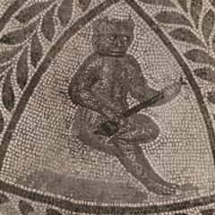 Music-Playing Primate Mosaic Detail
