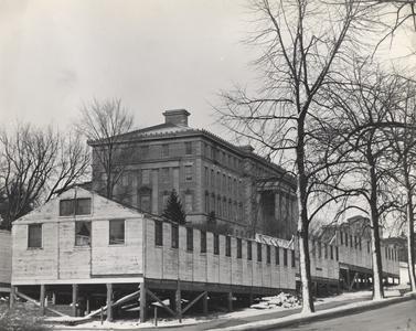 Temporary buildings under construction