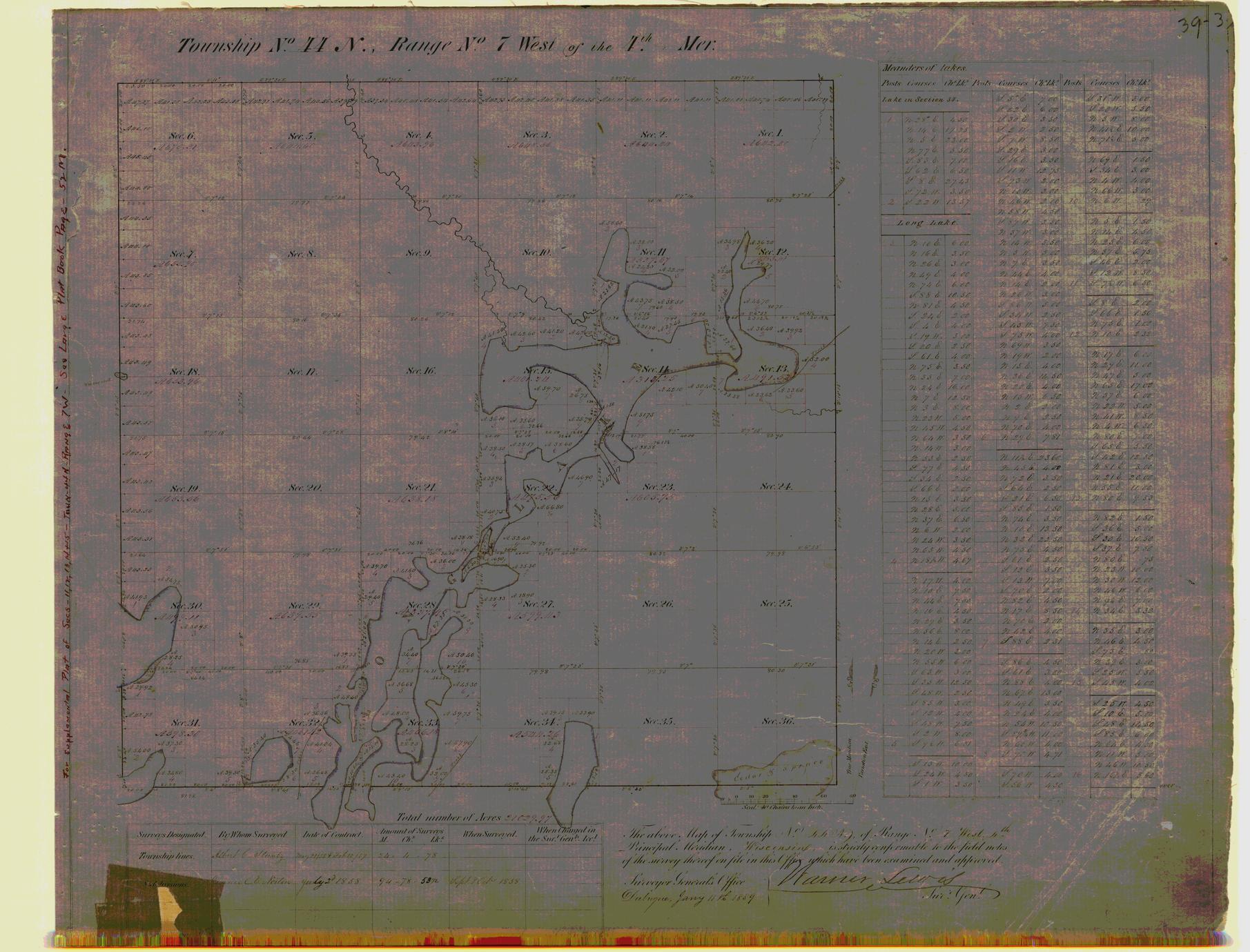[Public Land Survey System map: Wisconsin Township 44 North, Range 07 West]
