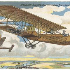 Deutscher Doppeldecker vernichtet französ. Flugzeug
