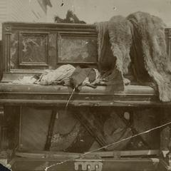 New Richmond tornado aftermath, damaged piano, 1899