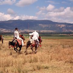 Horsemen Fending Off Opponents in Performance