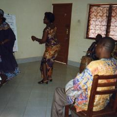 Women dancing at language lesson