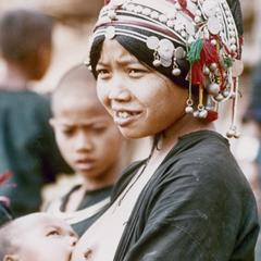 Akha woman nursing her baby at the village of Sobloi in Houa Khong Province