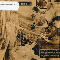 Family tying Carron nets at home