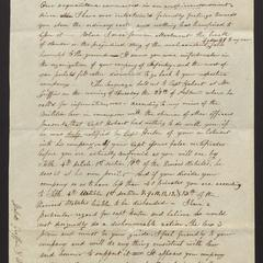 Letter from Major Felix Dominy to Messrs. Griffin and Wells, 1830