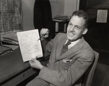 Frederic G. Cassidy with Wisconsin map