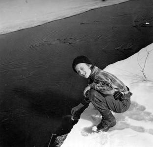Estella Leopold at river in winter