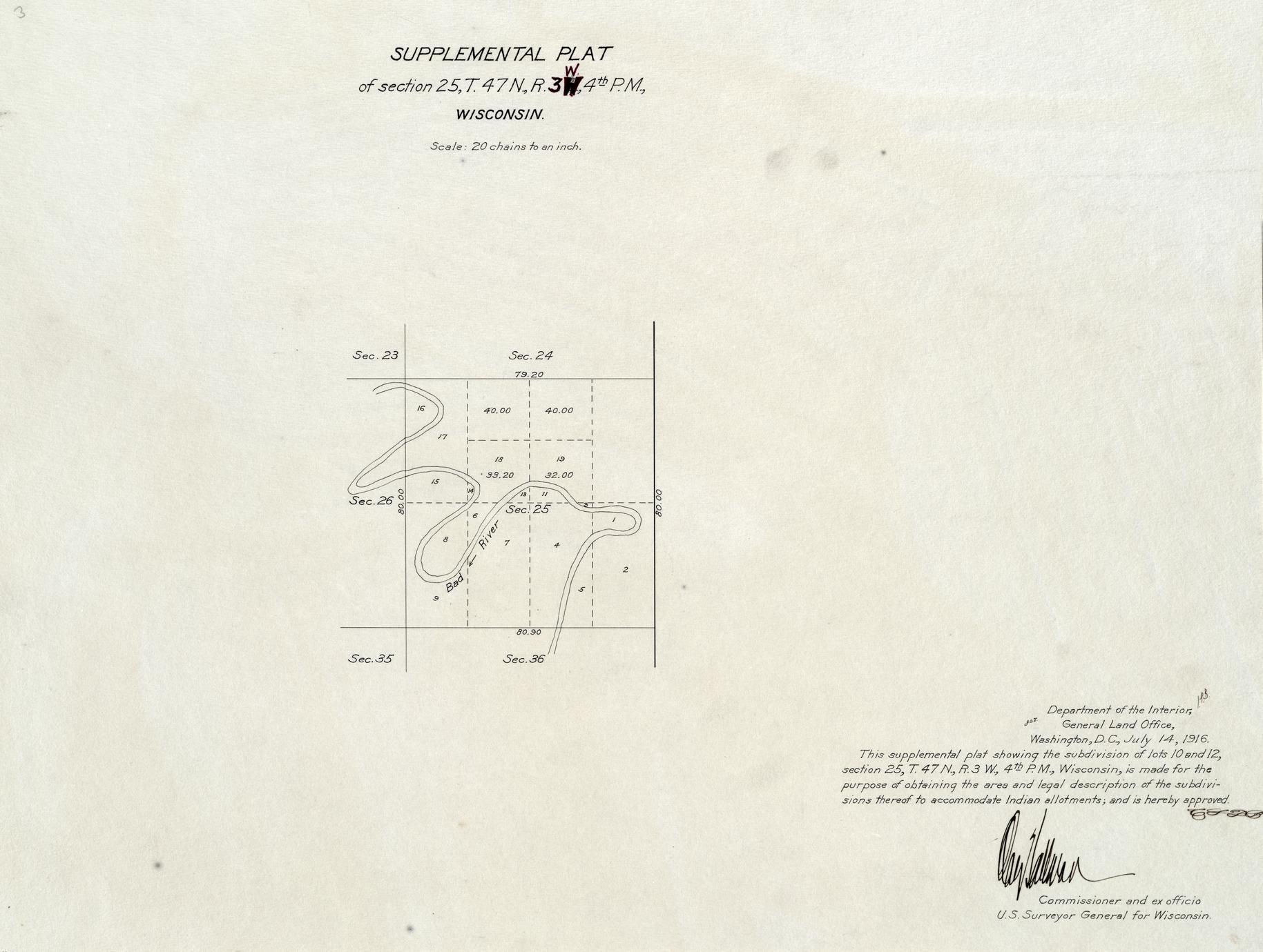 [Public Land Survey System map: Wisconsin Township 47 North, Range 03 West]