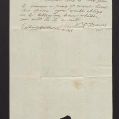 Note from Nathan C. Barnes to Major Felix Dominy, 1834