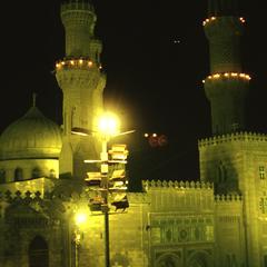 Mosque of Al-Azhar at Night during Ramadan
