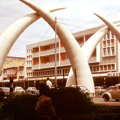 Metal Elephant Tusks Over Street in Mombasa