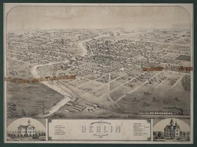 Bird's eye view of the city of Berlin, Green Lake County