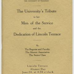 The university's tribute to her men of the service and the dedication of Lincoln Terrace ... Alumni day, June 24, 1919