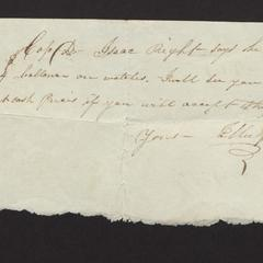 Note from J. Mulford to Capt. Dominy, regarding debt of Isaac Right