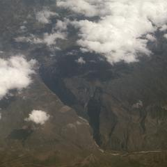 Deep gorge in western Guatemala or eastern Mexico, as seen from airplane