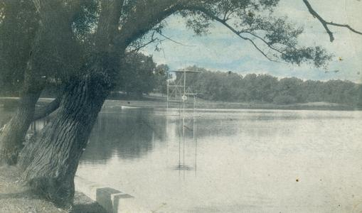 Lake Leota and diving tower, Evansville, Wisconsin