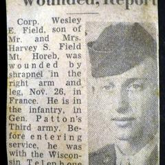 Wesley E. Field Wounded, Report