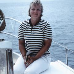 M. Kathryn Jones (Field Assistant) on the Bronzewing Yacht