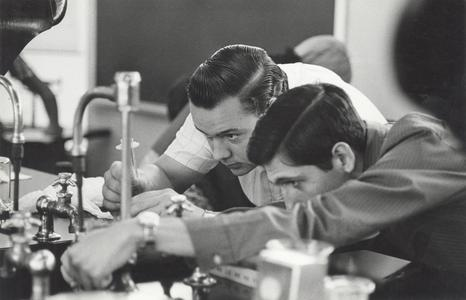 Students with chemistry equipment