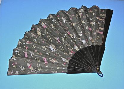 Kate Greenaway gray fabric fan