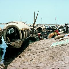 Passenger Boats Docked Along the Niger River
