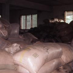 Stacked bags of feed