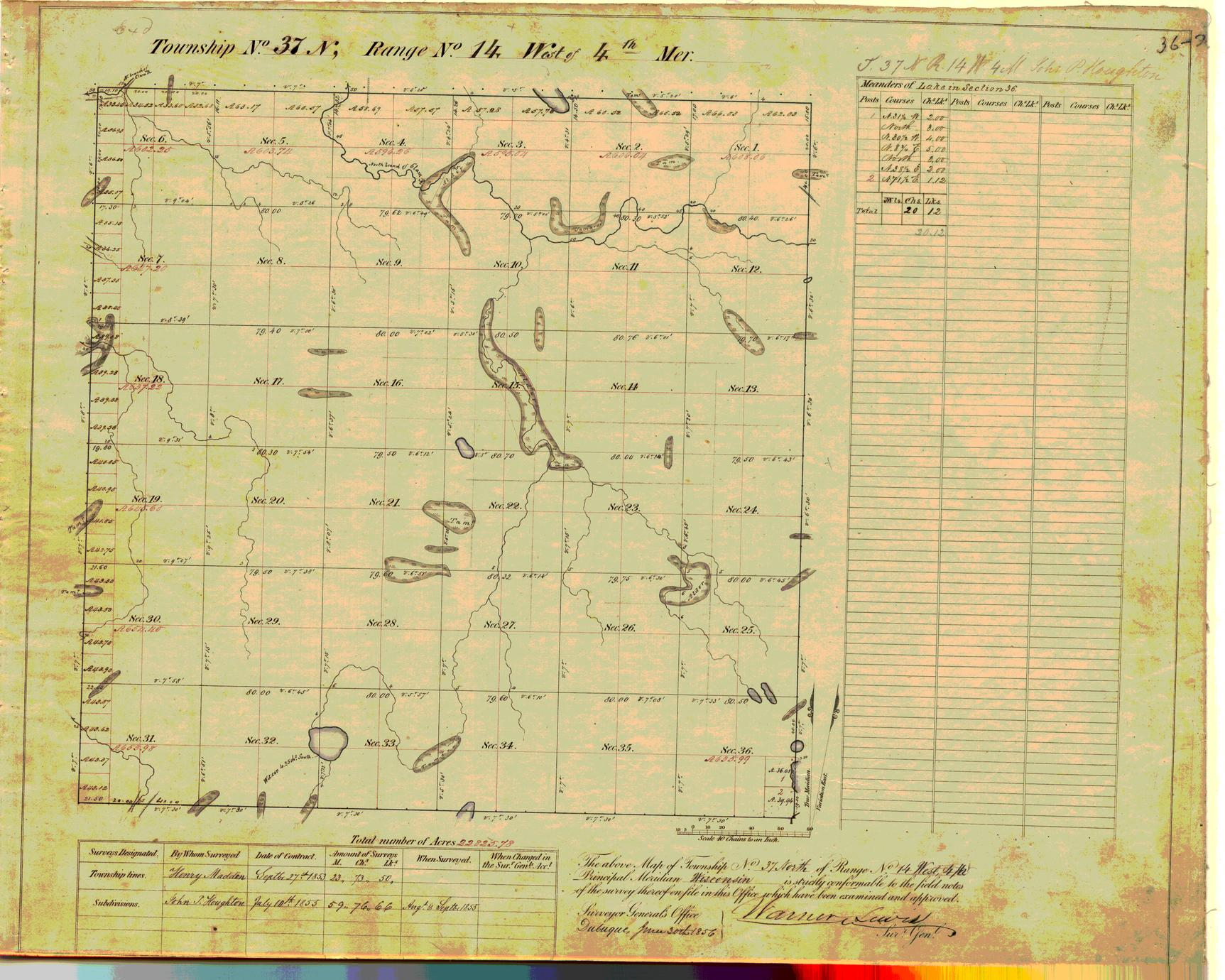 [Public Land Survey System map: Wisconsin Township 37 North, Range 14 West]